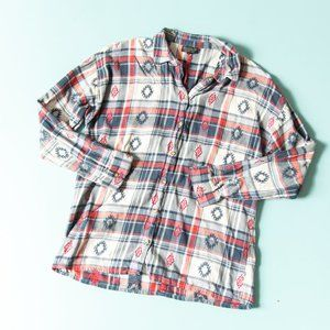 Topshop Western Long Sleeve Collared Plaid Flannel Button Down Shirt Size 4